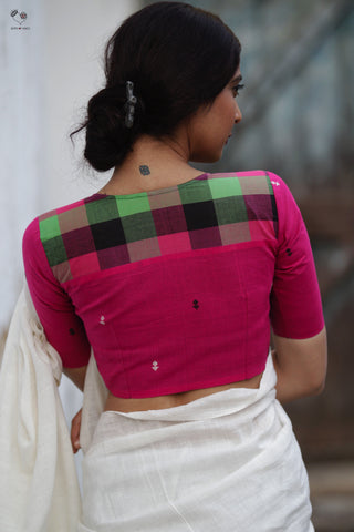 Pink Black Checks Handloom Cotton Butterfly Blouse