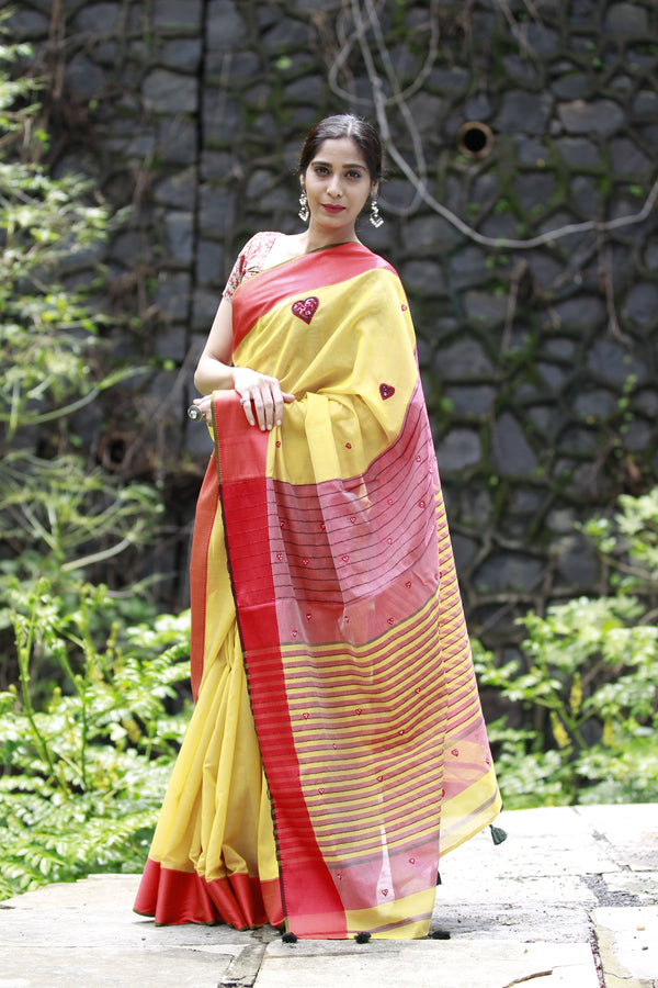 Heart Saree - Buttercup Yellow and Red Maheshwari