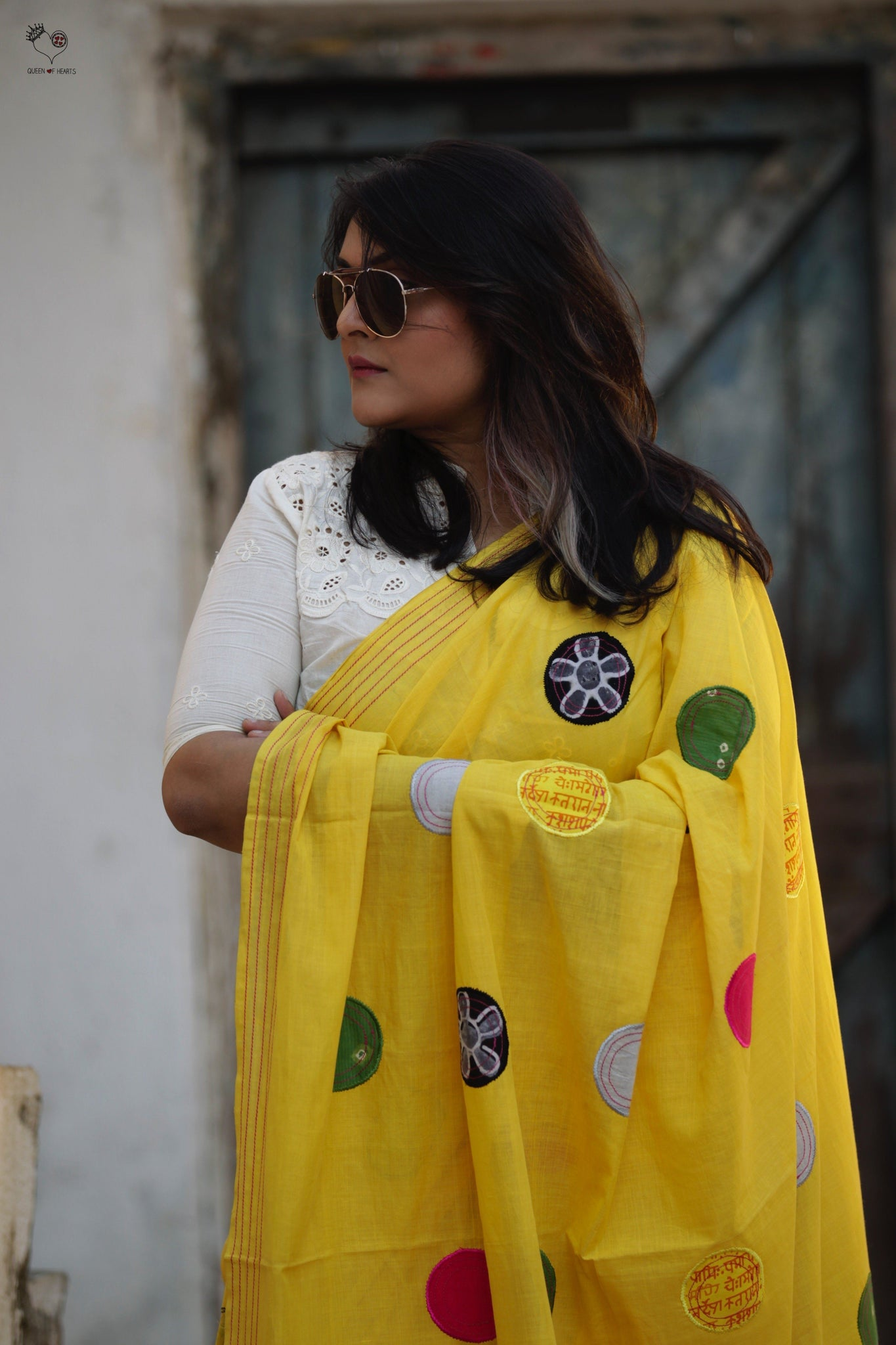 Sunshine Yellow Handloom Cotton Circles Saree