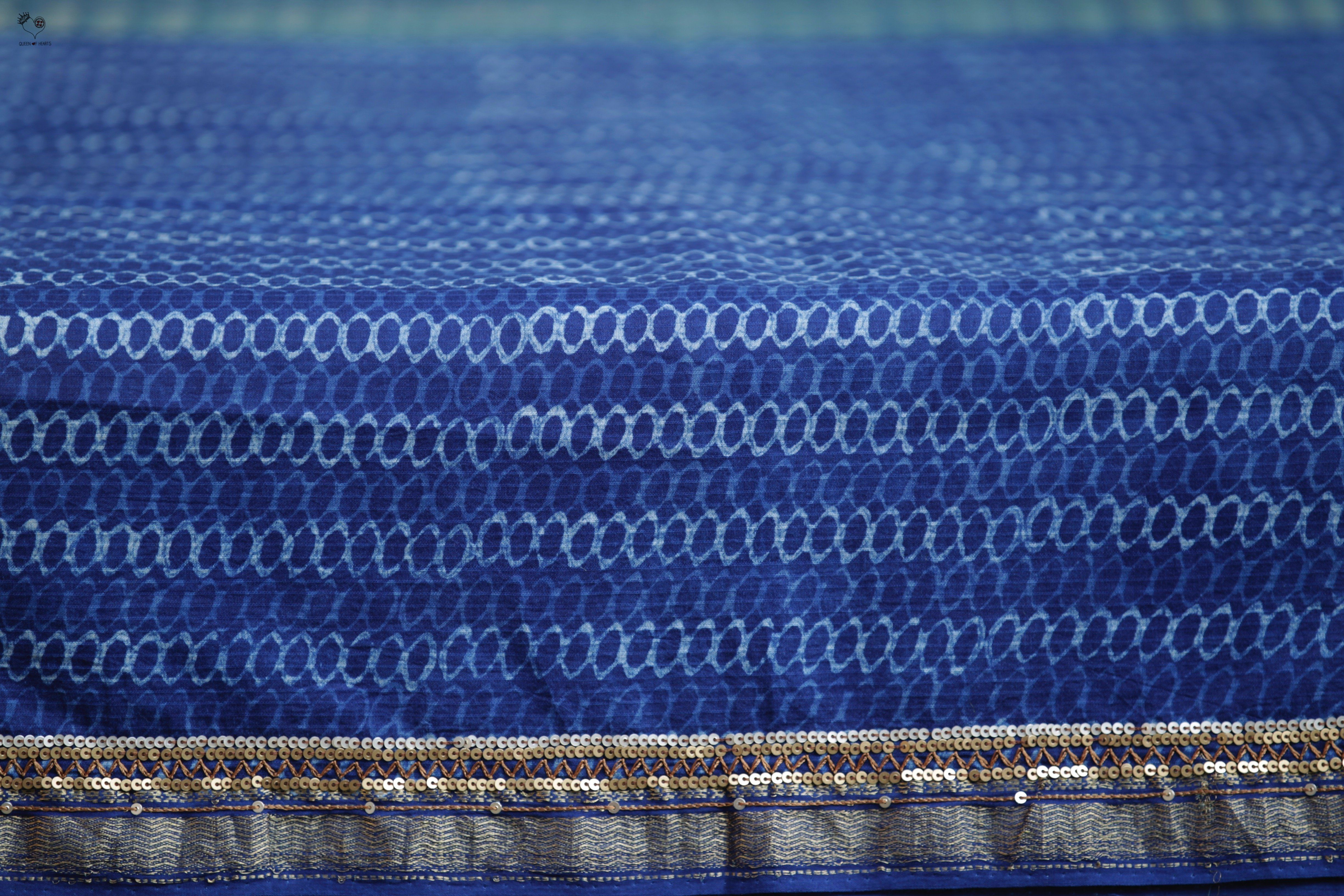Indigo 2 Block Print Highlighted Maheshwari Cotton Saree