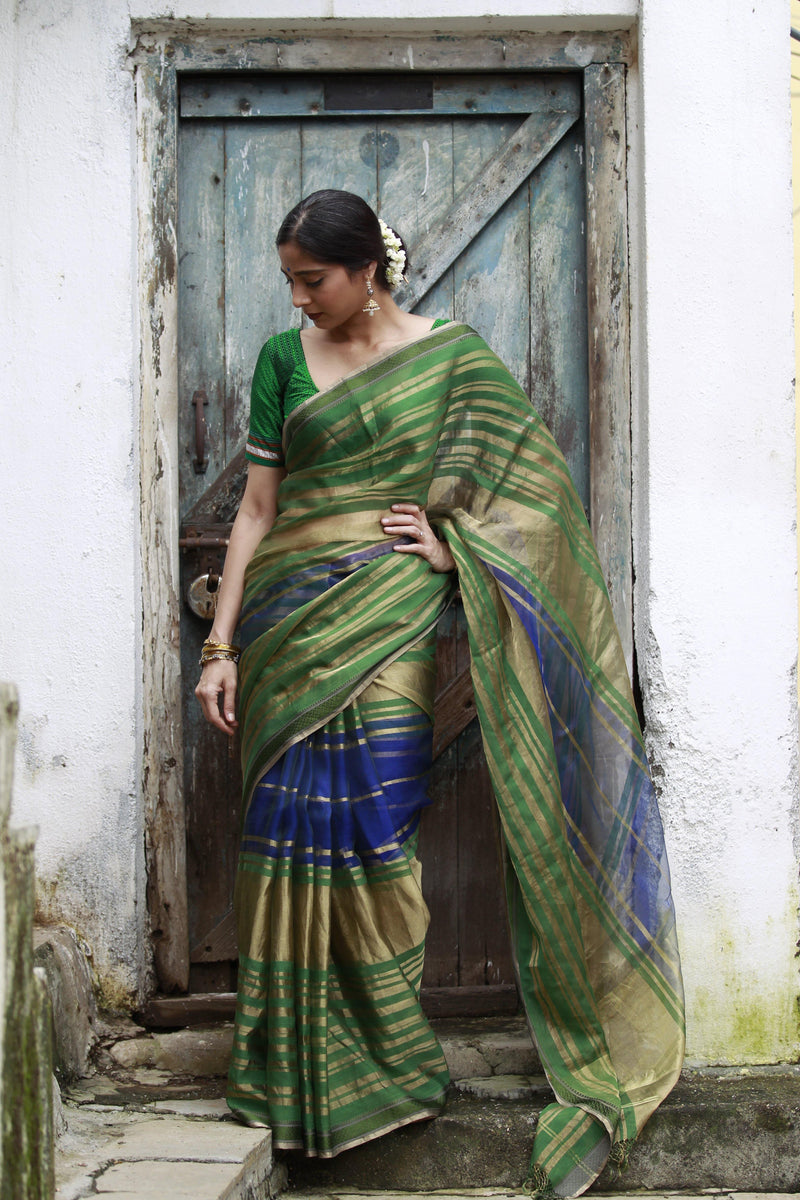 QoH Maheshwari Khushi Saree - Blue/Green