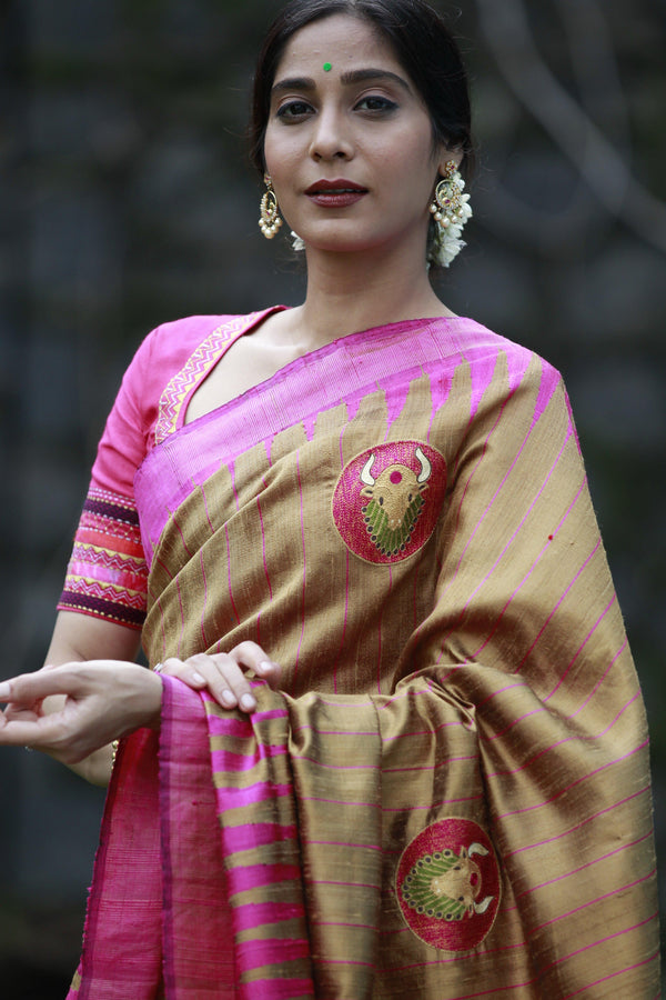 Pink/Caramel Brown Tussar Silk Bull Saree
