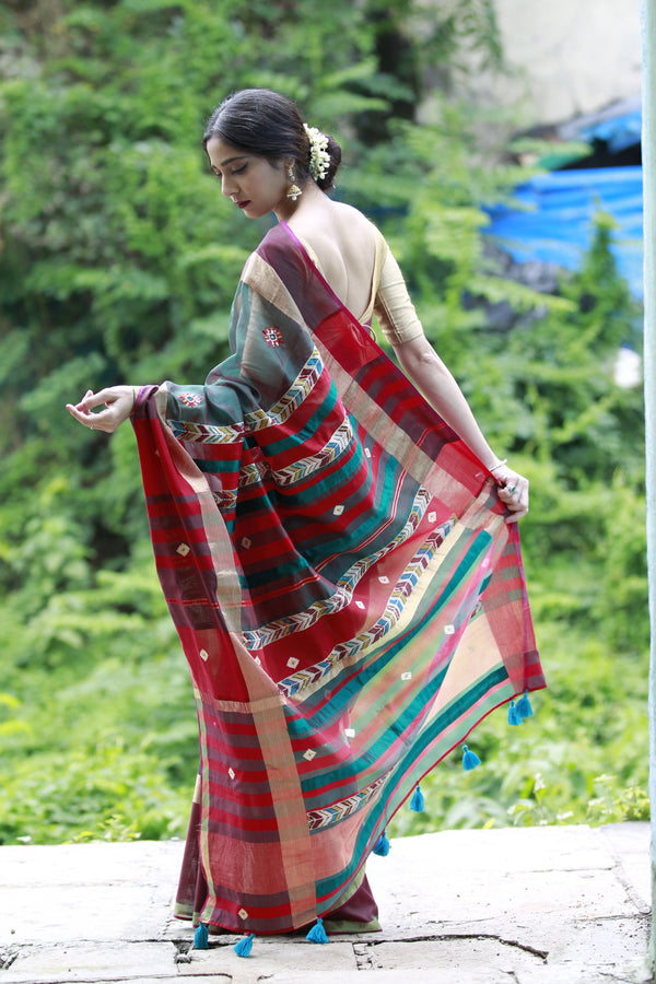 The QoH Kalamkari Love Saree - Green/Red Handloom Maheshwari