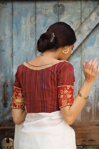 The Roshan Blouse - Kalamkari (Deep Red/Black)
