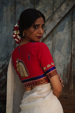 Red Gold Handloom Cotton KalaGhoda Blouse