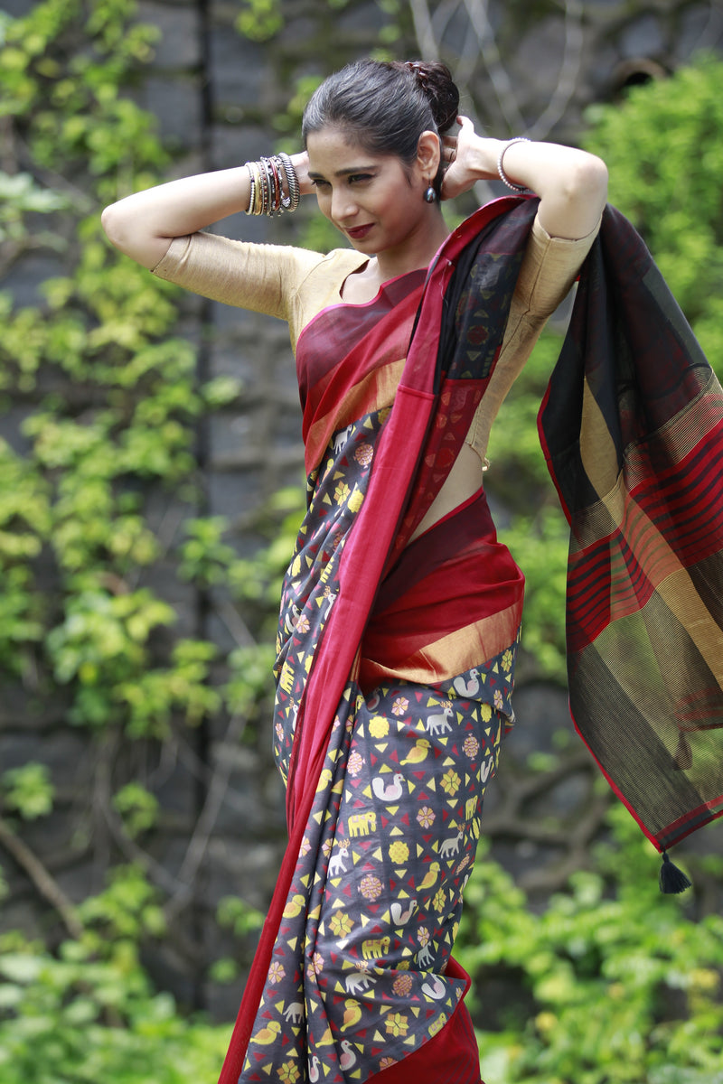 The Fun with Cloth Saree - Red/Black