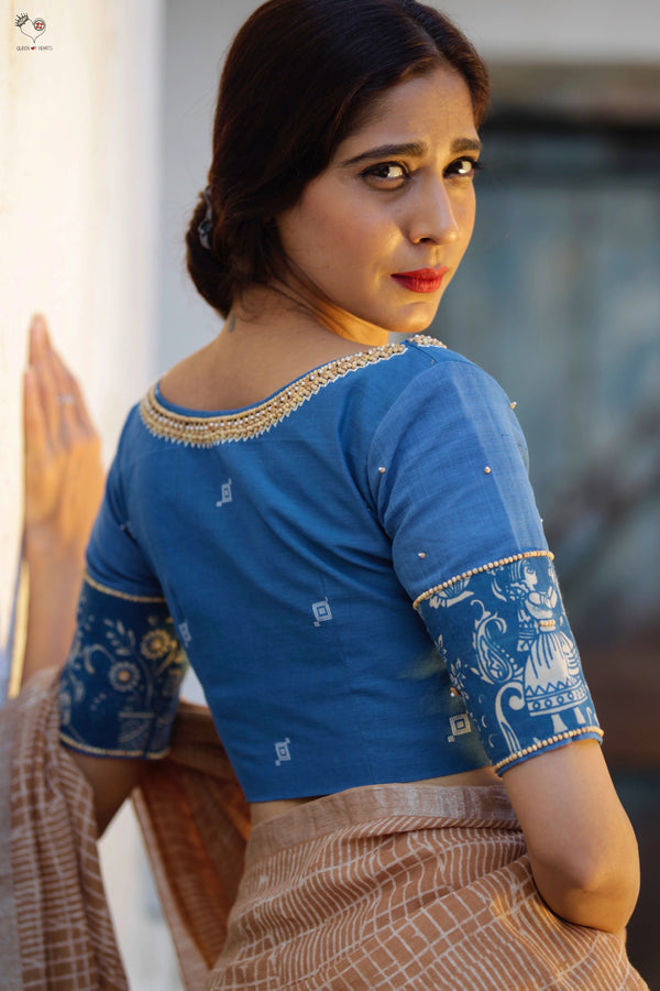 The Roshan Blouse - Kalamkari (Indigo Blue)