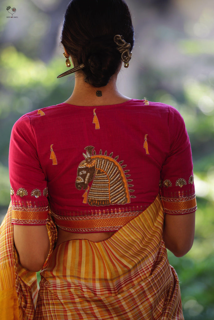 Pink Gold Handloom Cotton KalaGhoda Blouse