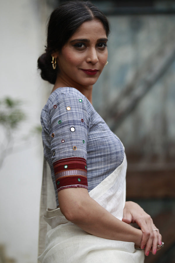 The Kerala Lungi Mirror Blouse - Blue