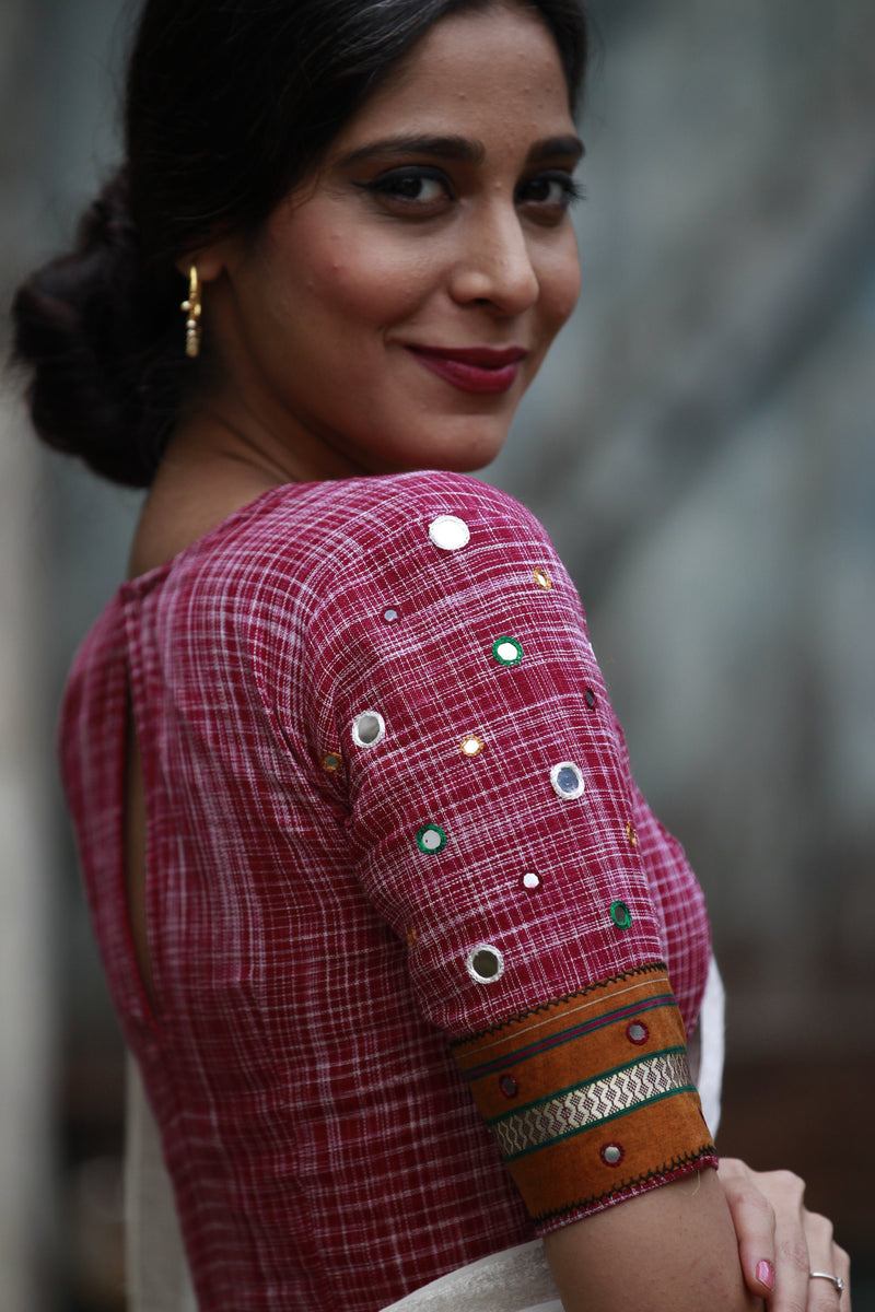 The Kerala Lungi Mirror Blouse - Maroon