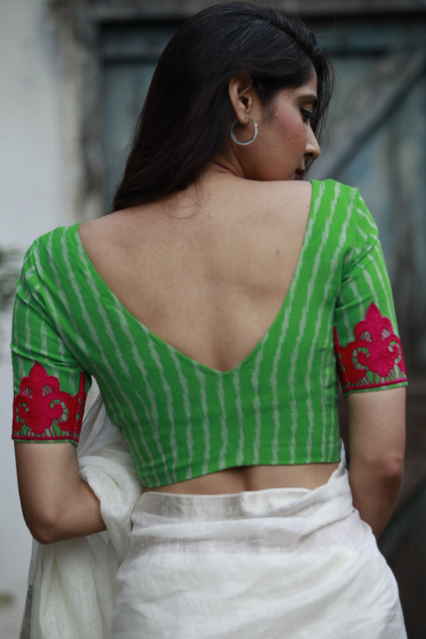 The QoH Appliqué Blouse - Green/Pink