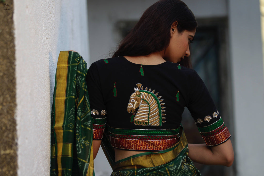 Black Gold Handloom Cotton KalaGhoda Blouse