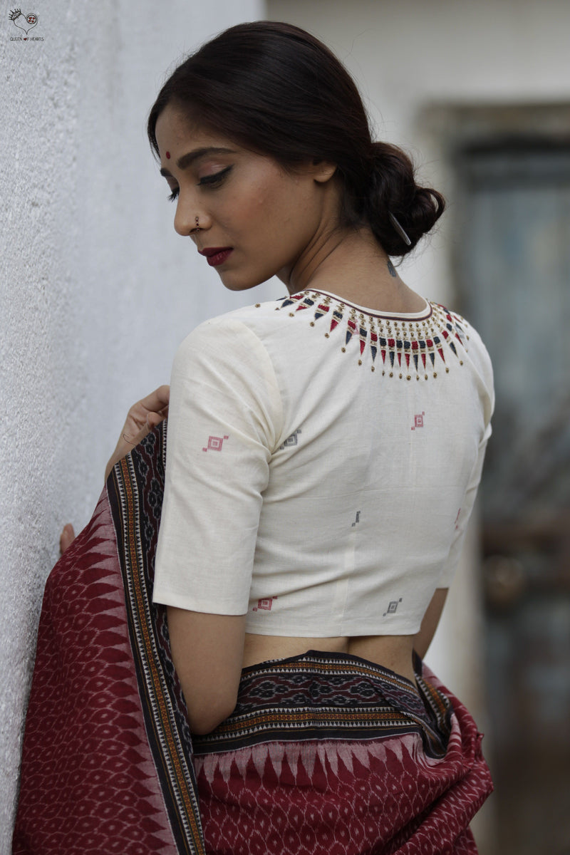 White Kerala Necklace Cotton Blouse