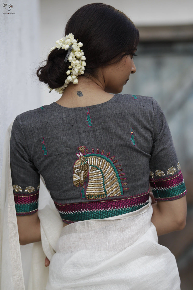 Grey Gold Handloom Cotton KalaGhoda Blouse