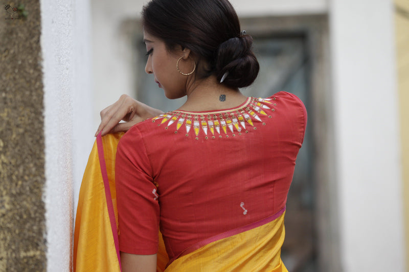 Tomato Red Kerala Necklace Cotton Blouse