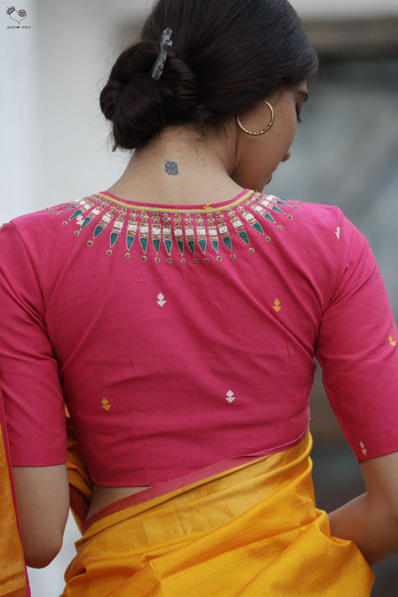 Pink Kerala Necklace Cotton Blouse