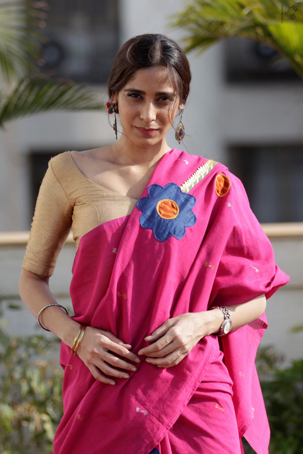 The Flower Power Saree Rani Pink