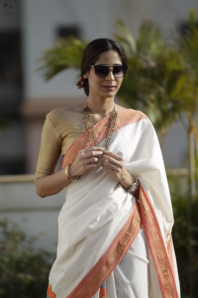 The Flower Power Saree Pearl White/ Peach