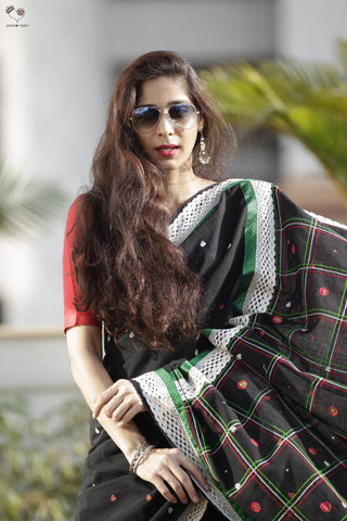 The Quilt Saree Jet Black
