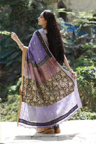 The Kalamkari Chamko Saree - Lavender/Black