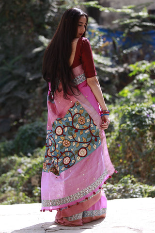 The Kalamkari Chamko Saree - Bright Pink/Indigo Blue