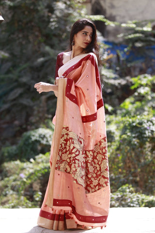 The Kalamkari Chamko Saree - Peach/Madder Red