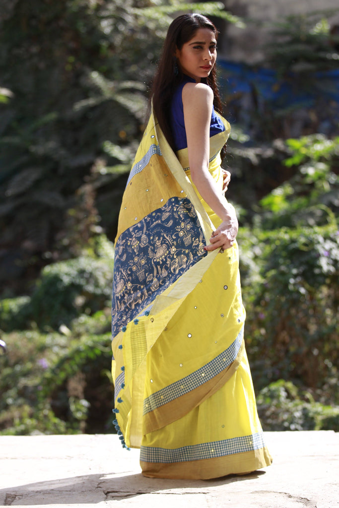 The Kalamkari Chamko Saree - Lime Yellow/Indigo Blue