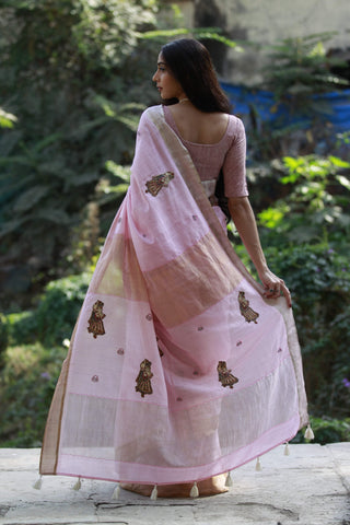 The Kalamkari Chamko Saree - Baby Pink