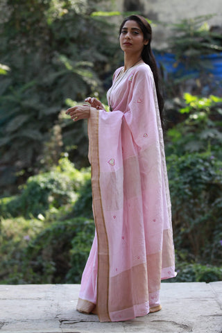 Powder Pink Heart Saree (Handloom Cotton)