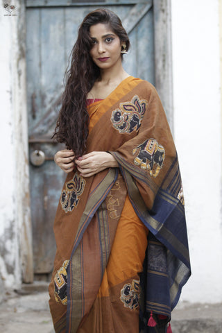 The Kalamkari Love Saree Caramel Brown / Black Kanjivaram