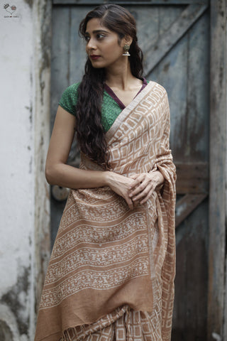 Sand Brown Hand Block Printed Handloom Linen Geometry 2 Saree