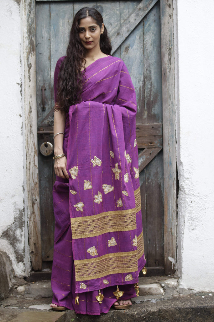 Purple Gold Champa Saree (Handloom Cotton)