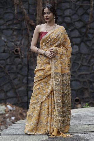 The Sandalwood Yellow Champa Saree (Handloom Linen by Linen)