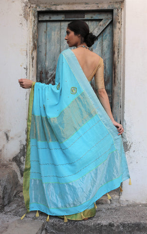 The Metallic Collection – Peacock Feathers Saree - Phirozi Blue