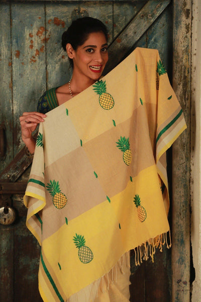 Beige Yellow Bengal Cotton Pineapple Saree
