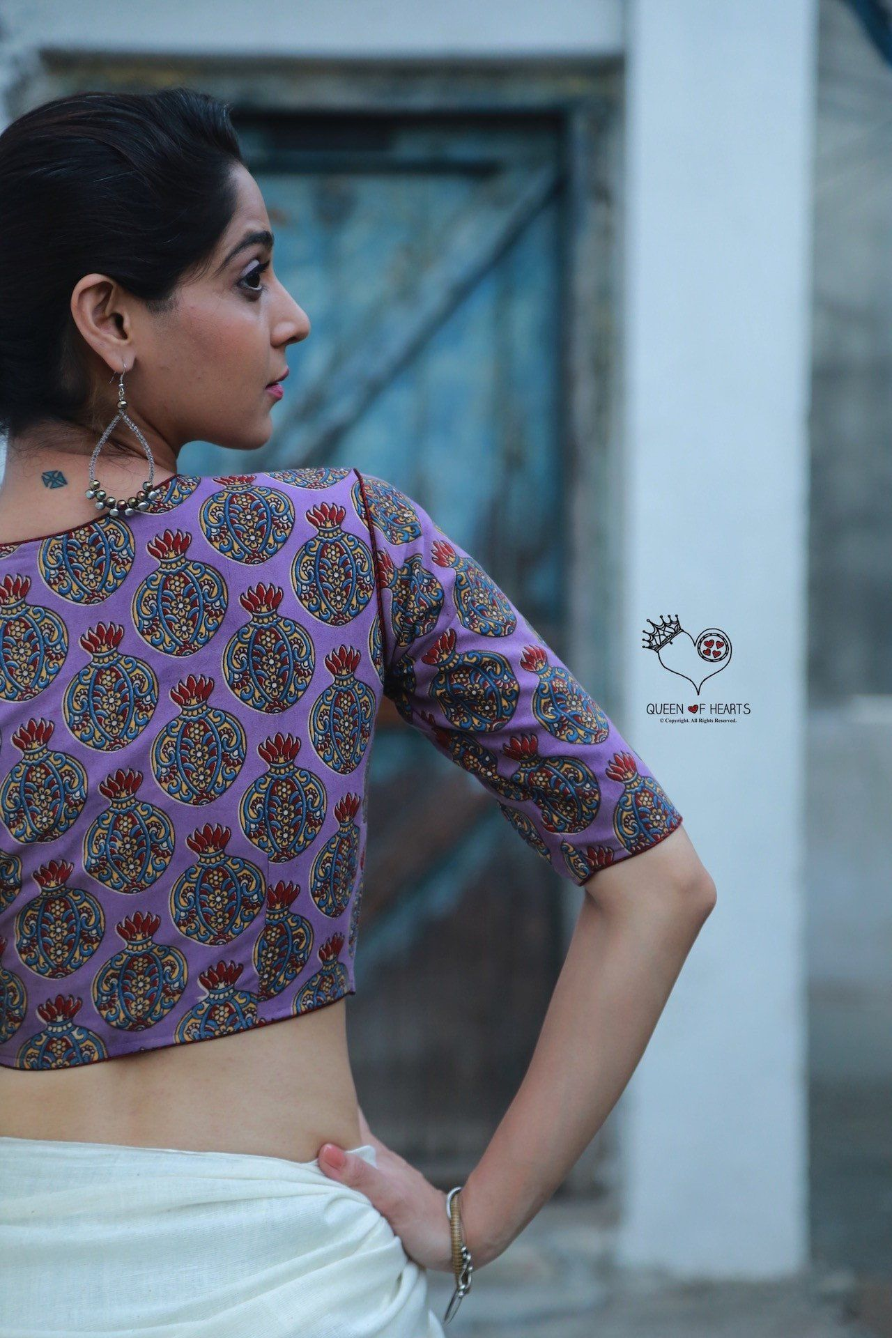 Purple Pitcher Kalamkari Cotton Blouse