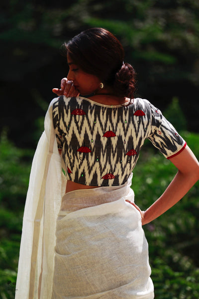 White Black Indian Monsoon Ikat Cotton Blouse