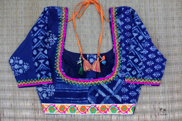 Indigo White Dhabu Cotton Blouse