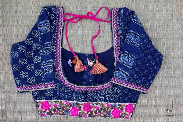 Indigo Black Dhabu Cotton Blouse