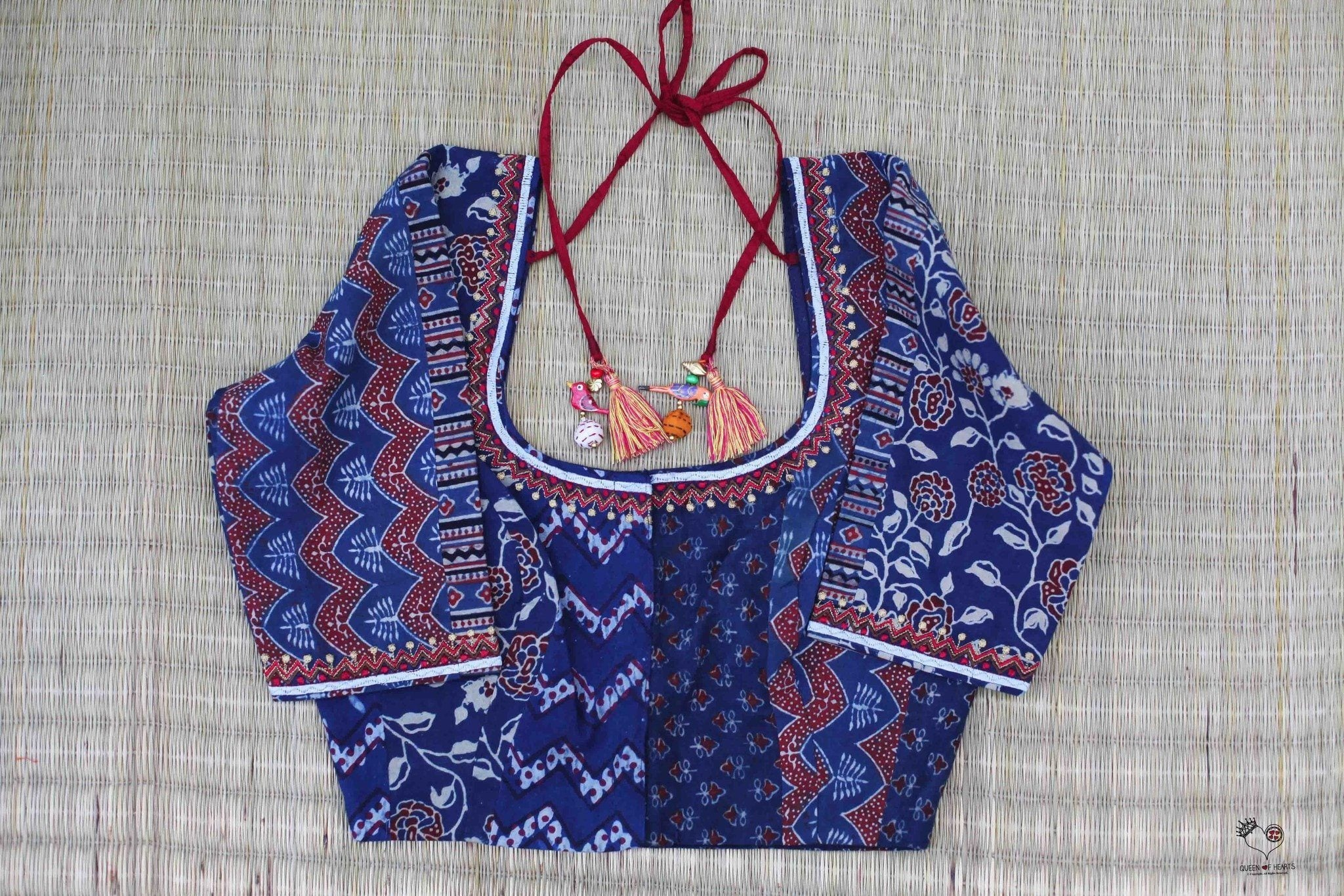 Indigo Red Dhabu Cotton Blouse