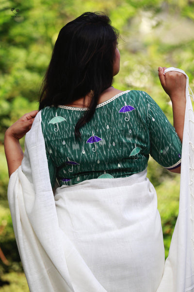 Moss Green Indian Monsoon Ikat Cotton Blouse
