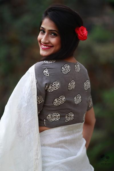 Grey Dice Dhabu Block Printed Cotton Blouse