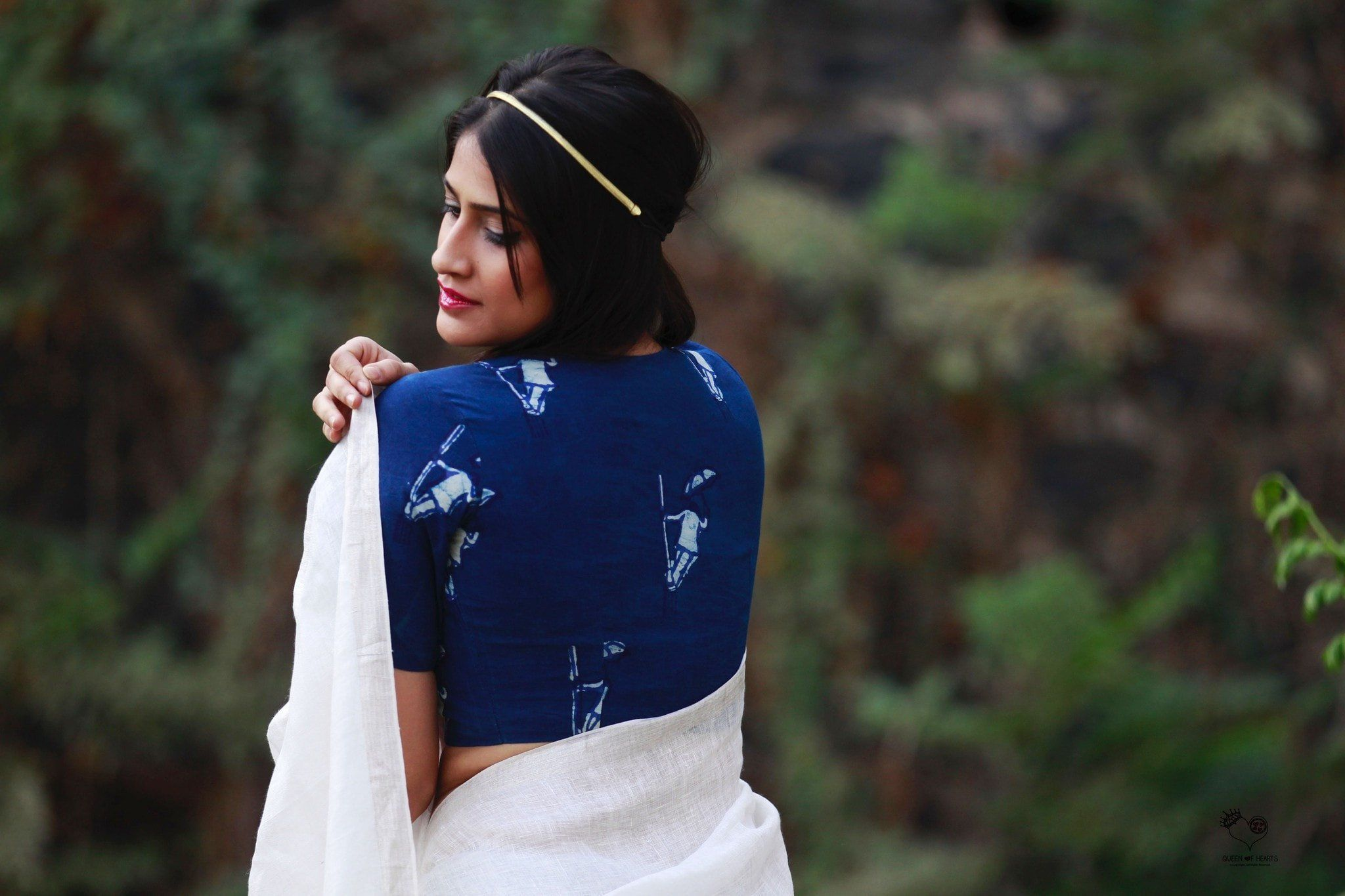 Indigo Singing in the Rain Dhabu Block Printed Cotton Blouse