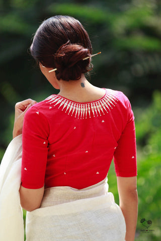 Red Kerala Necklace Cotton Blouse