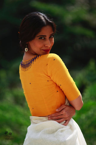 Yellow Kerala Necklace Cotton Blouse