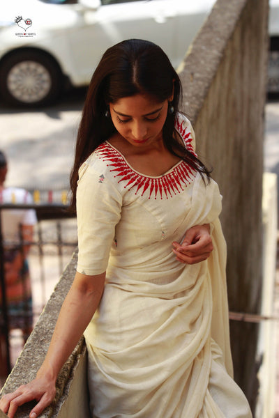 Kora White Kerala Necklace Cotton Blouse