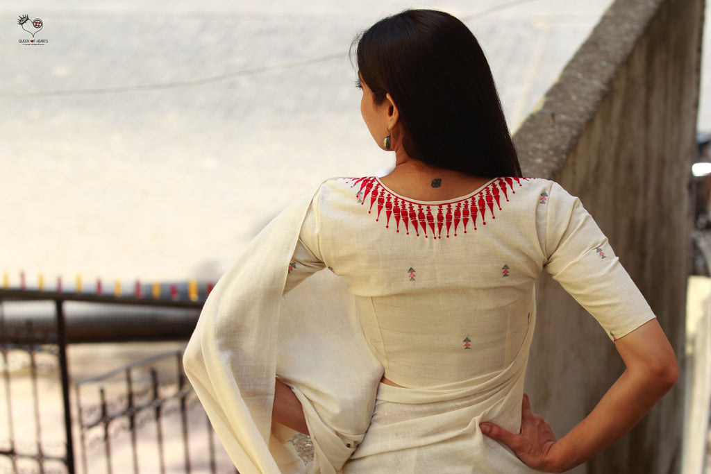 Kora White And Red Kerala Necklace Cotton Blouse