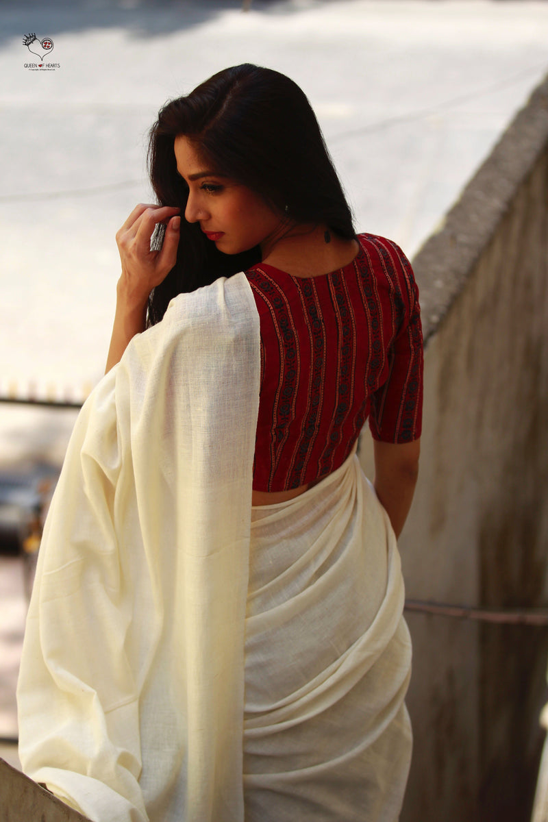 Madder Red Hand Block Printed Tussar Cotton Sujata Blouse