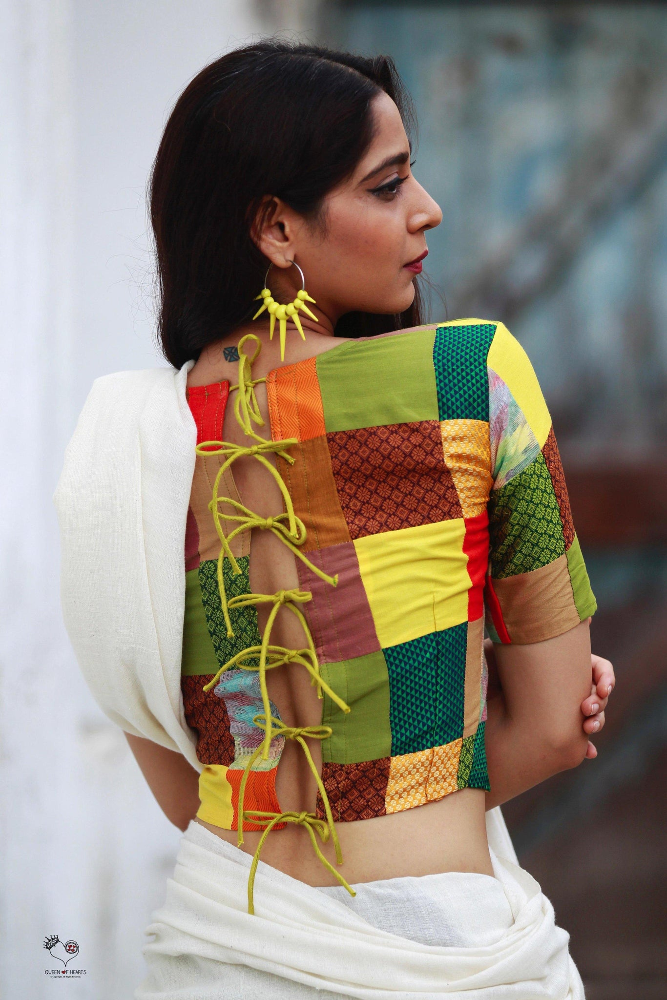 Yellow Green Colour Block Patchwork Blouse