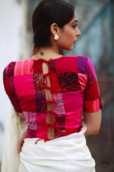 Pink Red Colour Block Patchwork Blouse